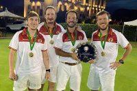 Cuatro socios del club, miembros del equipo español Campeón del Mundo de Croquet por equipos (Tier 2)